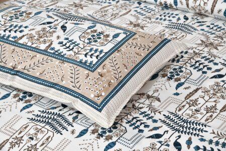 Artistic Modern Grey Brown Jaipuri Print Double Bedsheet Closeup