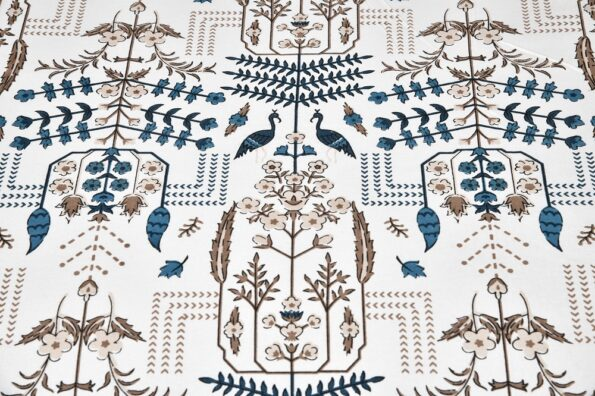 Artistic Modern Grey Brown Jaipuri Print Double Bedsheet Closeview