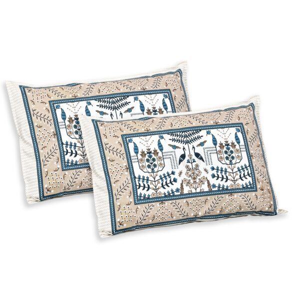 Artistic Modern Grey Brown Jaipuri Print Double Bedsheet Pillows