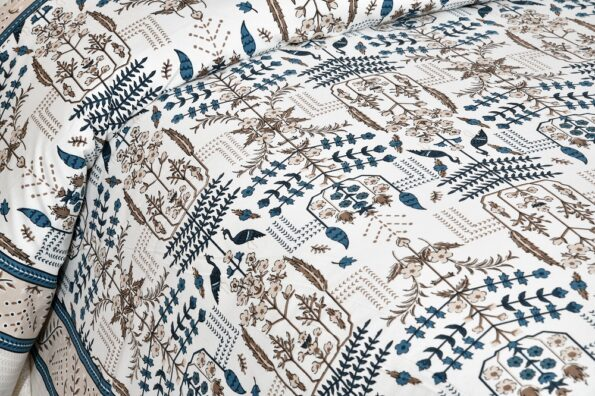 Artistic Modern Grey Brown Jaipuri Print Double Bedsheet Sideview