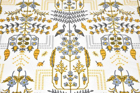 Artistic Modern Yellow Jaipuri Print Double Bedsheet Close view