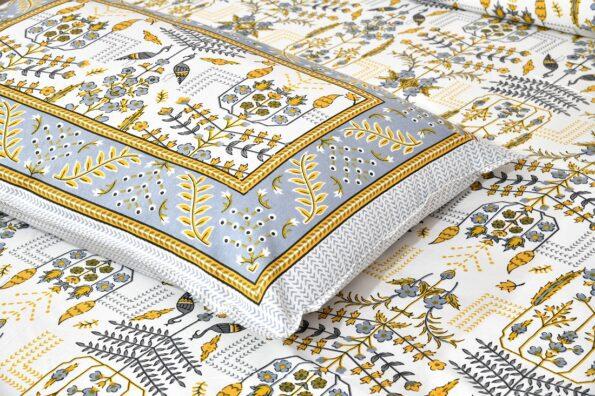 Artistic Modern Yellow Jaipuri Print Double Bedsheet Closeup