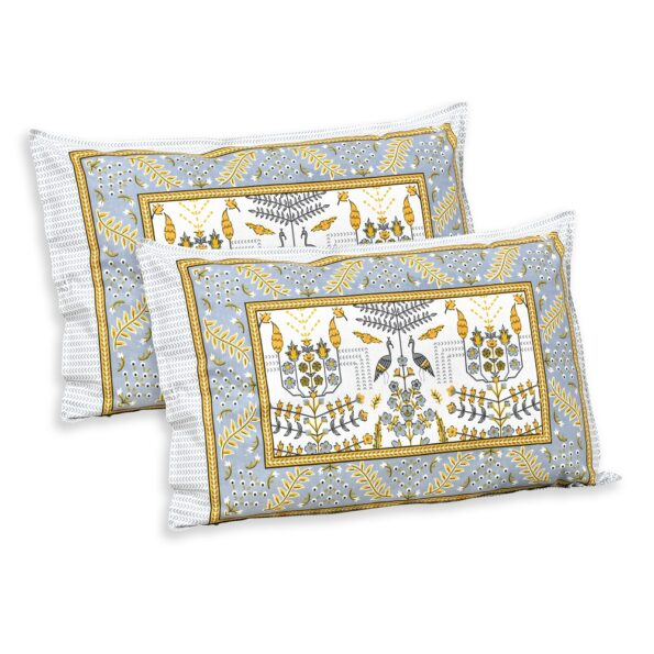 Artistic Modern Yellow Jaipuri Print Double Bedsheet Pillows