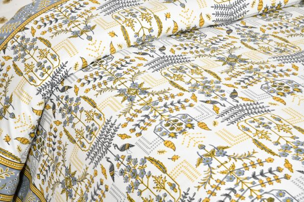 Artistic Modern Yellow Jaipuri Print Double Bedsheet Side view