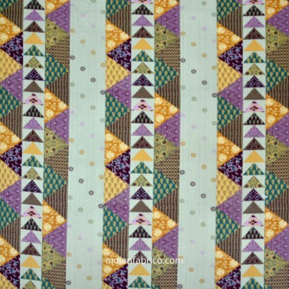 Barmeri Print Pista Green Patchwork Design King Size Bedsheet Fullview