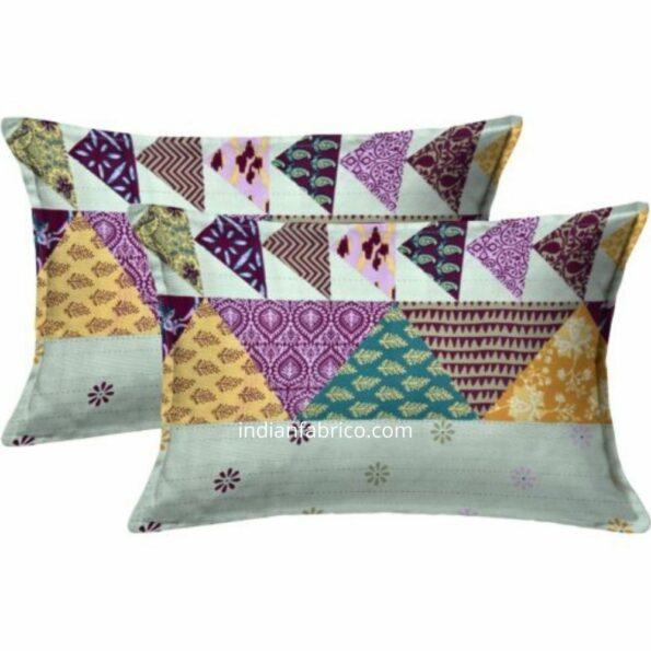 Barmeri Print Pista Green Patchwork Design King Size Bedsheet Pillow
