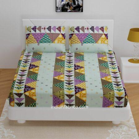 Barmeri Print Pista Green Patchwork Design King Size Bedsheets