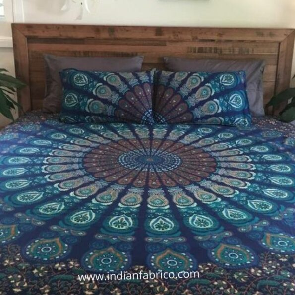 Blue Mandala Tapestry Double Bedsheet with 2 Pillow Covers