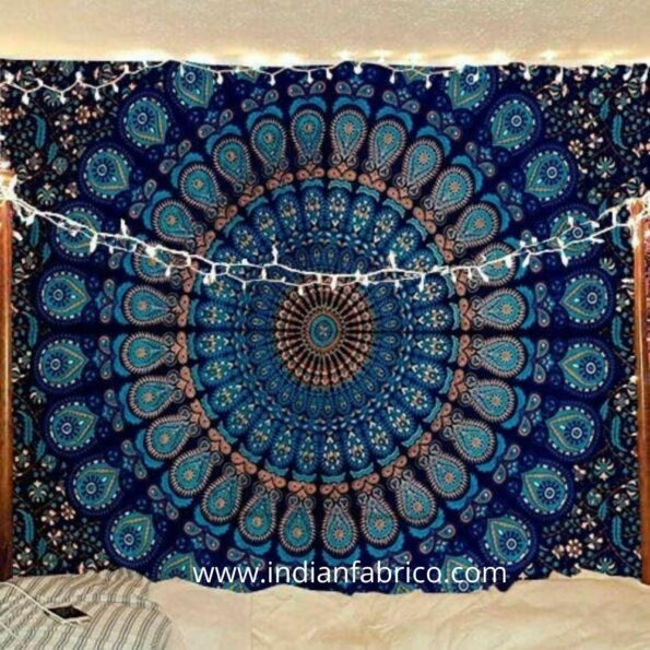 Indian Fabrico Blue Mandala Tapestry Double Bedsheets
