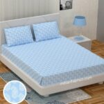 Blue Placid Paisley King Size Bedsheet with Two Pillow Covers