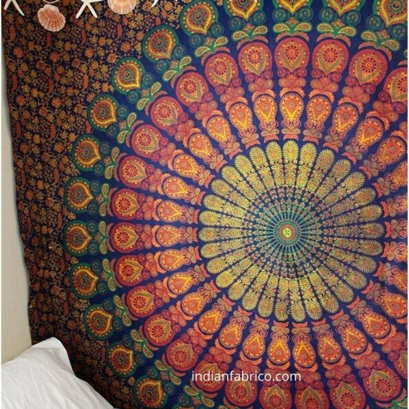 Colorful Mandala Tapestry Double Bedsheet Fullview