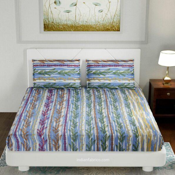 Deep Aquatic Sky Blue King Size BedSheet