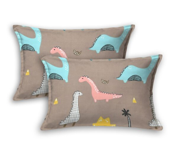 Dino Kids Supersoft Double Bedsheet Pillow Covers