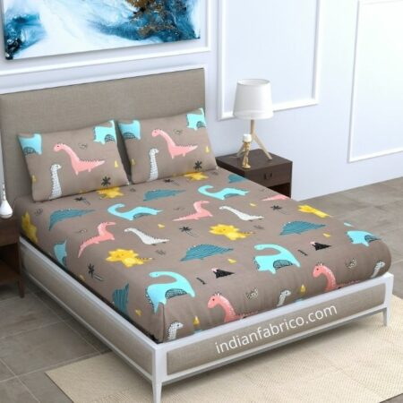 Dino Kids Supersoft Double Bedsheet with 2 Pillow Covers