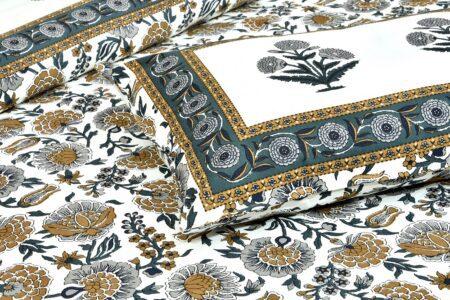 Ethnic Jaipuri Pure Cotton Grey Color Floral Double Bedsheet Closeup