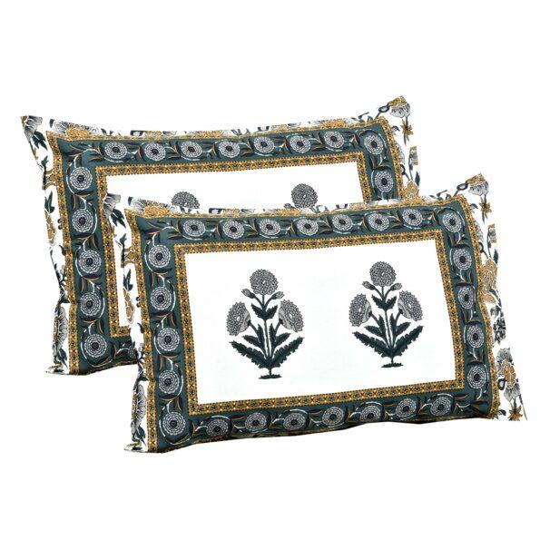 Ethnic Jaipuri Pure Cotton Grey Color Floral Double Bedsheet Pillows