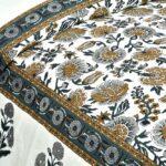 Ethnic Jaipuri Pure Cotton Grey Color Floral Double Bedsheet