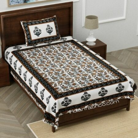 Ethnic Jaipuri Pure Cotton Grey Color Floral Single Bedsheet