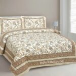 Pure Cotton Paisley Floral Double Bedsheet + Dohar Set with Two Pillow Covers