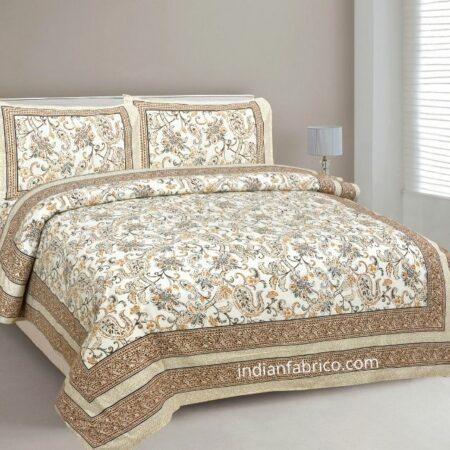 Ethnic Jaipuri Pure Cotton Paisley Floral Brown Border Double Bedsheet