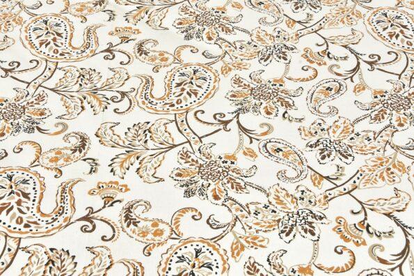 Ethnic Jaipuri Pure Cotton Paisley Floral Brown Border Double Bedsheet Close