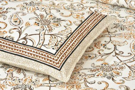 Ethnic Jaipuri Pure Cotton Paisley Floral Brown Border Double Bedsheet Closeup
