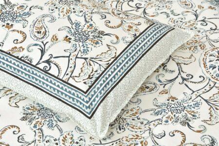 Ethnic Jaipuri Pure Cotton Paisley Floral Grey Border Double Bedsheet Closeup