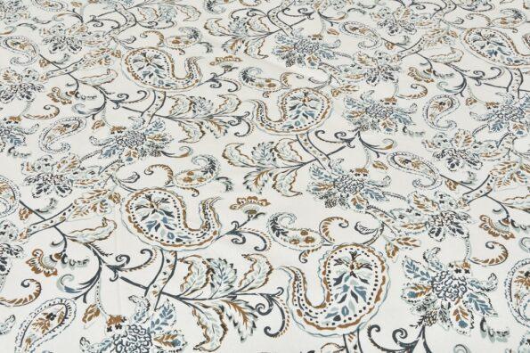 Ethnic Jaipuri Pure Cotton Paisley Floral Grey Border Double Bedsheet Design