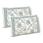 Ethnic Jaipuri Pure Cotton Paisley Floral Grey Border Double Bedsheet