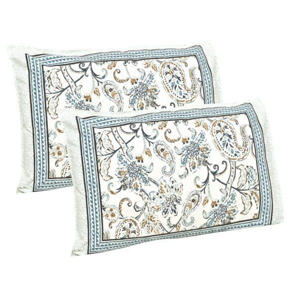 Ethnic Jaipuri Pure Cotton Paisley Floral Grey Border Double Bedsheet Pillows
