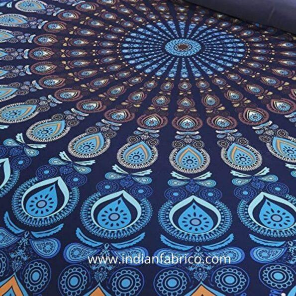 Indian Fabrico Blue Mandala Tapestry Double Bedsheet