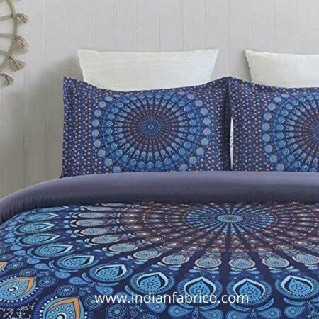 Indian Fabrico Blue Mandala Tapestry Double Bedsheet Closeup