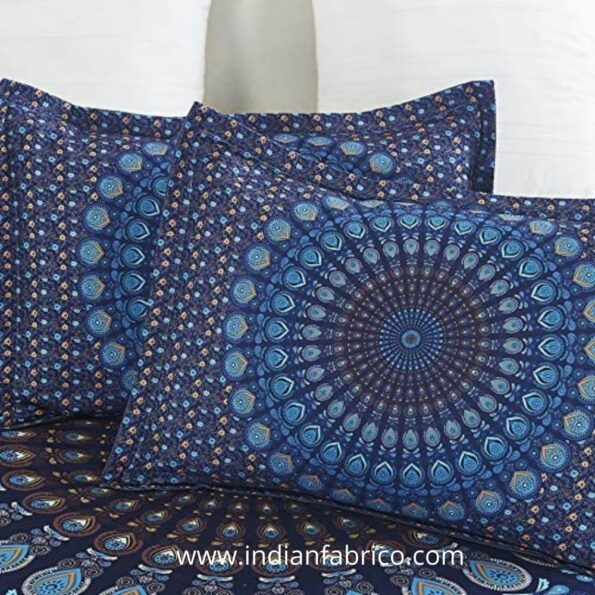 Indian Fabrico Blue Mandala Tapestry Double Bedsheet Pillows