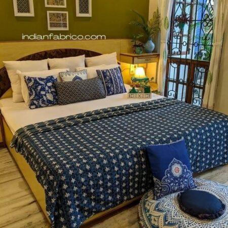 Indian Fabrico Indigo Dark Blue Wave Shape Pure Cotton Reversible Double Bed Dohar