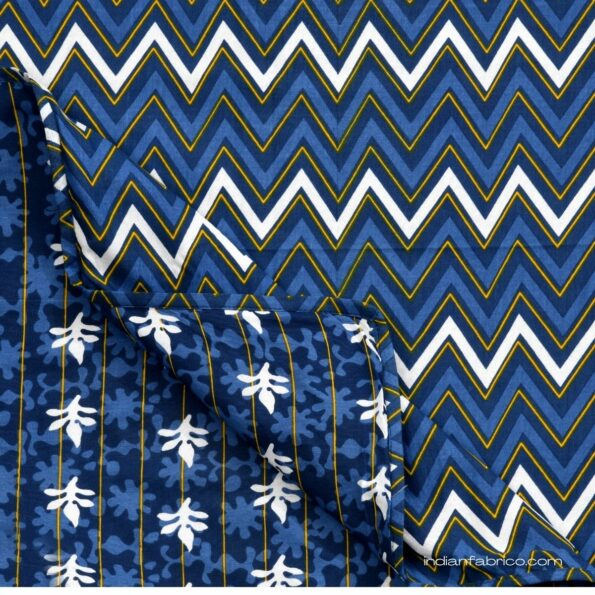 Indigo Dark Blue Wave Shape Pure Cotton Reversible Double Bed Dohar back