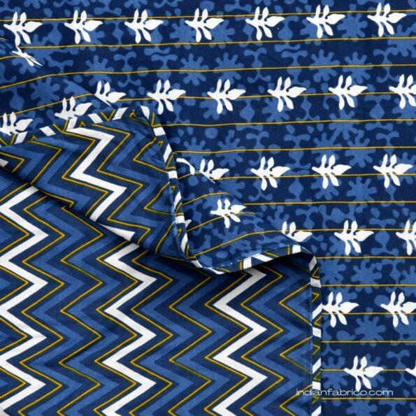 Indigo Dark Blue Wave Shape Pure Cotton Reversible Double Bed Dohar front