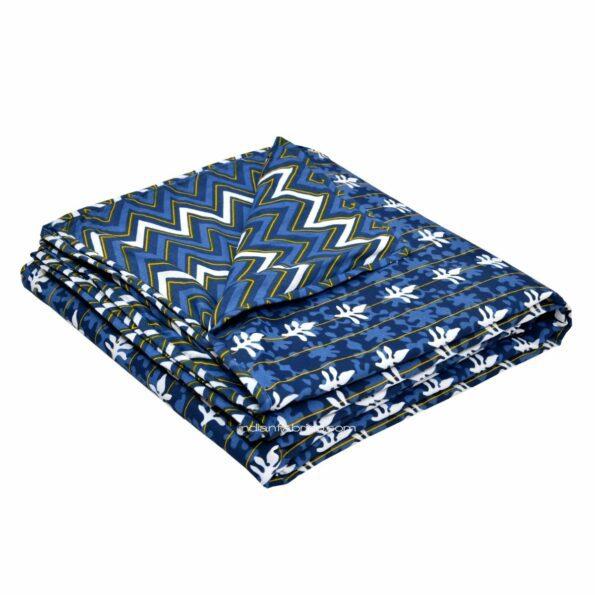 Indigo Dark Blue Wave Shape Pure Cotton Reversible Double Bed Dohar set