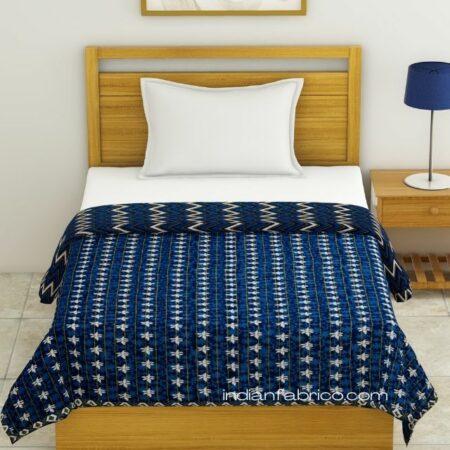 Indigo Dark Blue Wave Shape Pure Cotton Reversible Single Bed Dohar