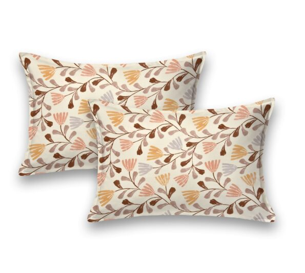 Lata Climber Cream Floral King Size Bedsheet Pillow Covers