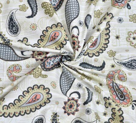 Paisley Blueish Grey Print King Size Bedsheet Closeup
