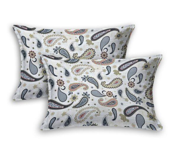 Paisley Blueish Grey Print King Size Bedsheet Pillow covers