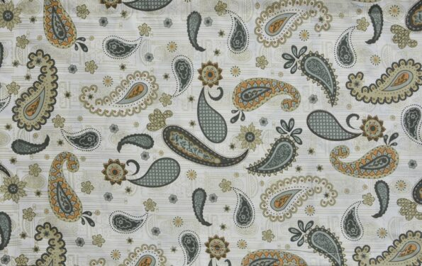Paisley Blueish Grey Print King Size Bedsheets