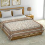 Paisley Floral Brown Border Pure Cotton Double Bed Dohar