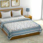 Paisley Floral Grey Border Pure Cotton Double Bed Dohar
