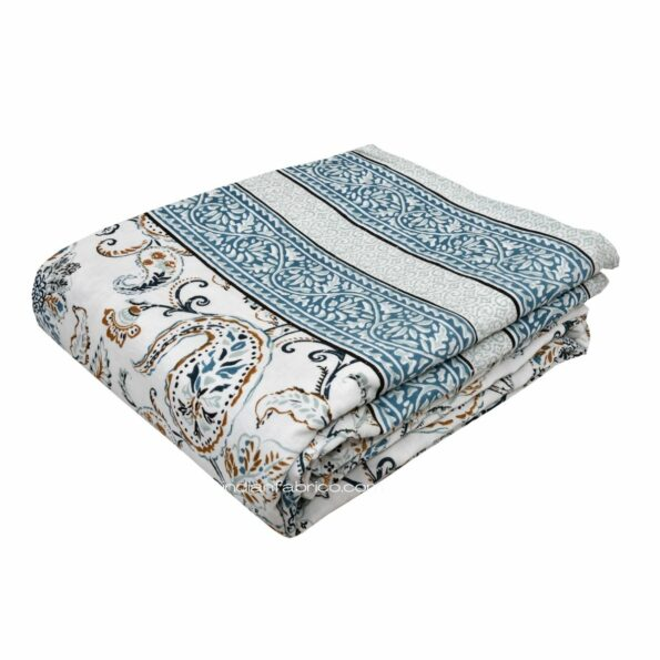 Paisley Floral Grey Border Pure Cotton Double Bed Dohar Front view