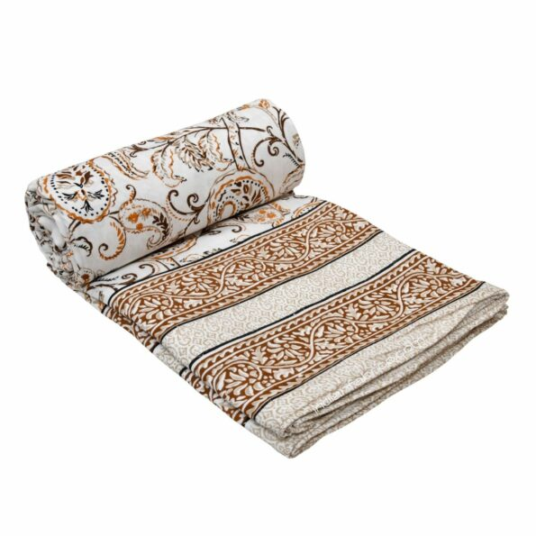 Paisley Floral Grey Border Pure Cotton Double Bed Dohar Roll