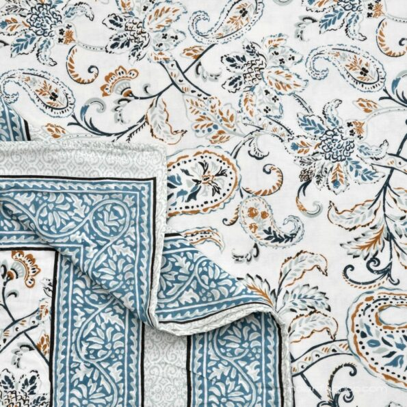 Paisley Floral Grey Border Pure Cotton Double Bed Dohar Sideview