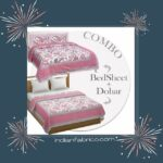 Pure Cotton Pink Flowers Double Bedsheet + Dohar Set with Two Pillow Covers