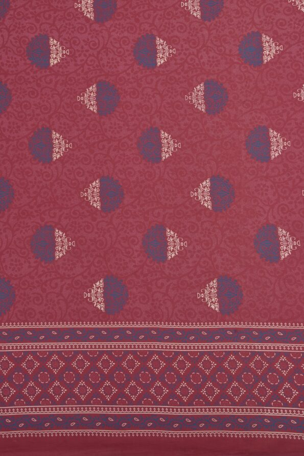 Traditional Rajwada Maroon Pure Cotton King Size Bedsheet Sideview
