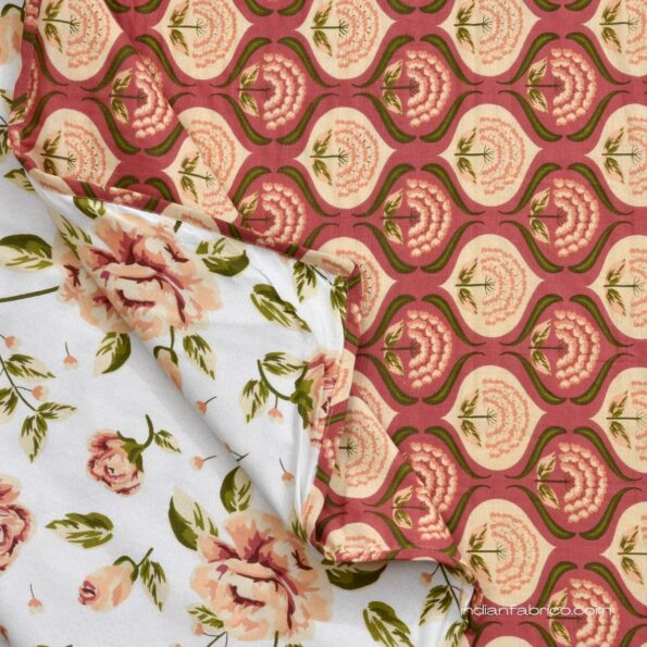 White Base Orange Flower Motif Pure Cotton Reversible Double Bed Dohar Closeview